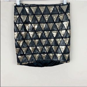 🌿Hommage L.A. Black & Gold Sequinned Mini Skirt